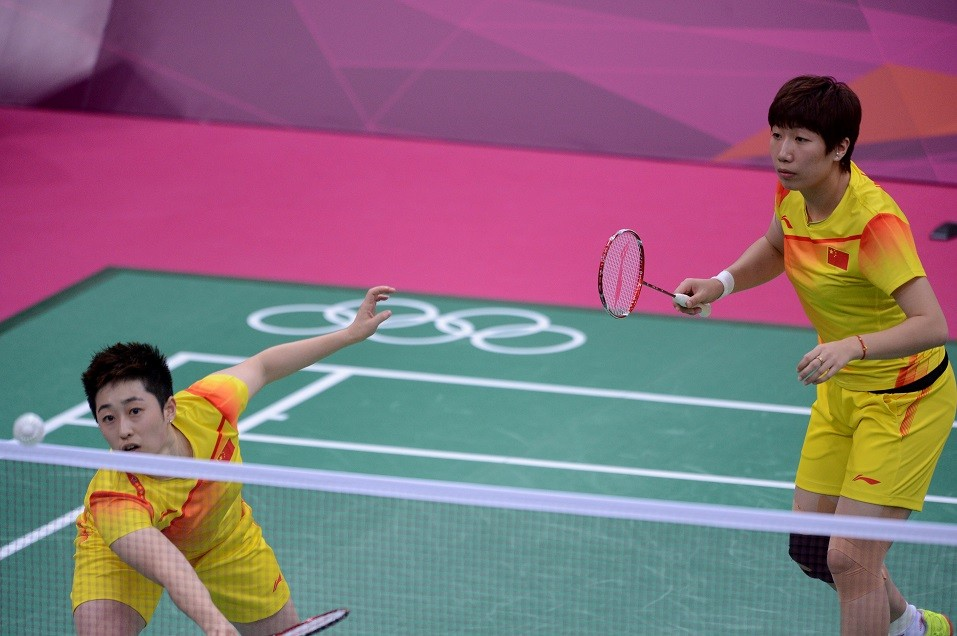 Yu Yang and her teammate Wang Xiaoli during their women's double badminton match against Kim Ha-Na and Jung Kyung-Eun of South Koreaat the London 2012 Olympic Games