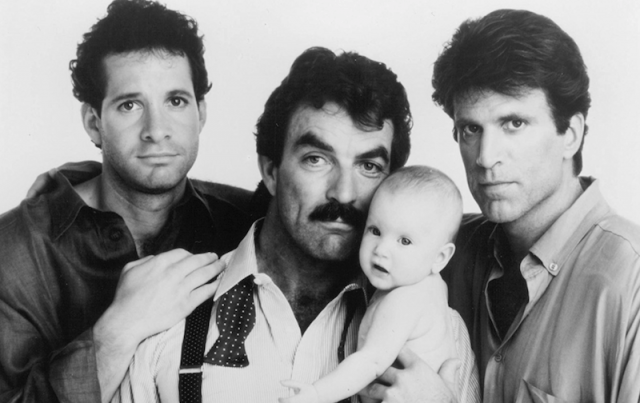 Steve Guttenberg, Tom Selleck, Ted Danson in 'Three Men and a Baby'.