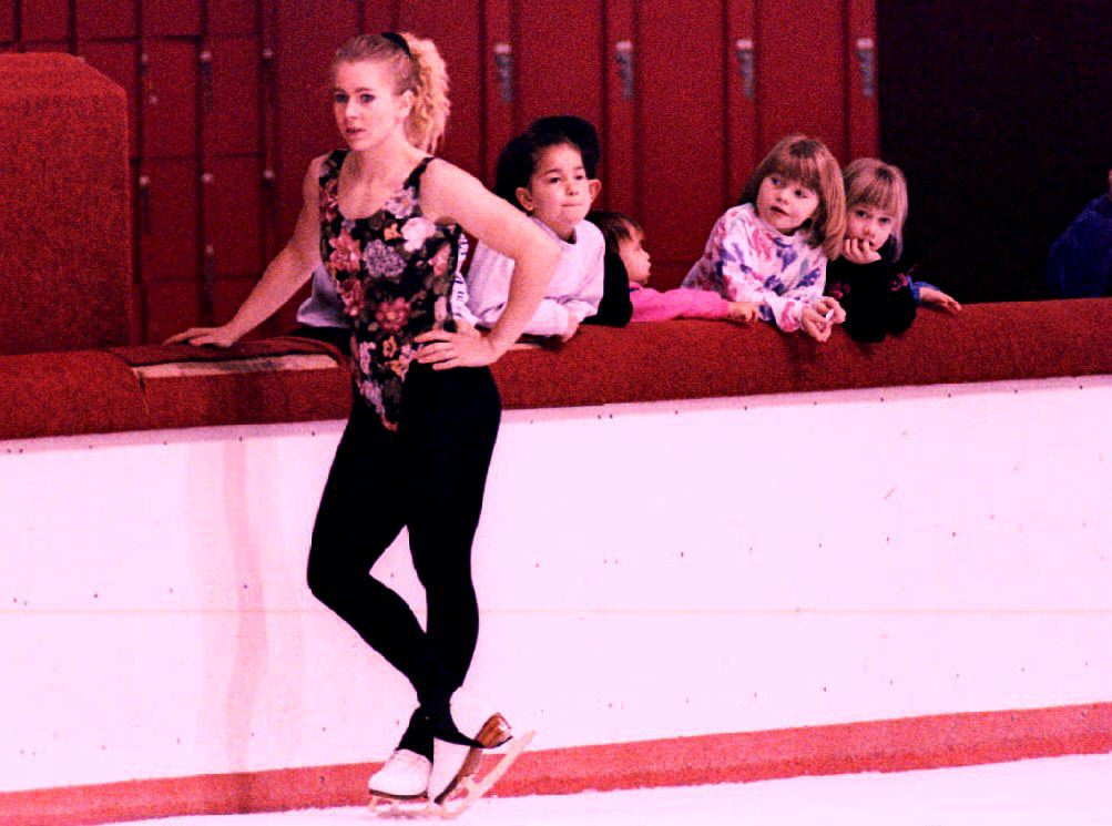 Young fans of U.S. figure skater Tonya Harding loo