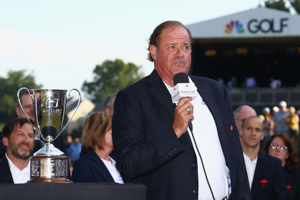 roadcaster Chris Berman of ESPN speaks during the trophy presentation