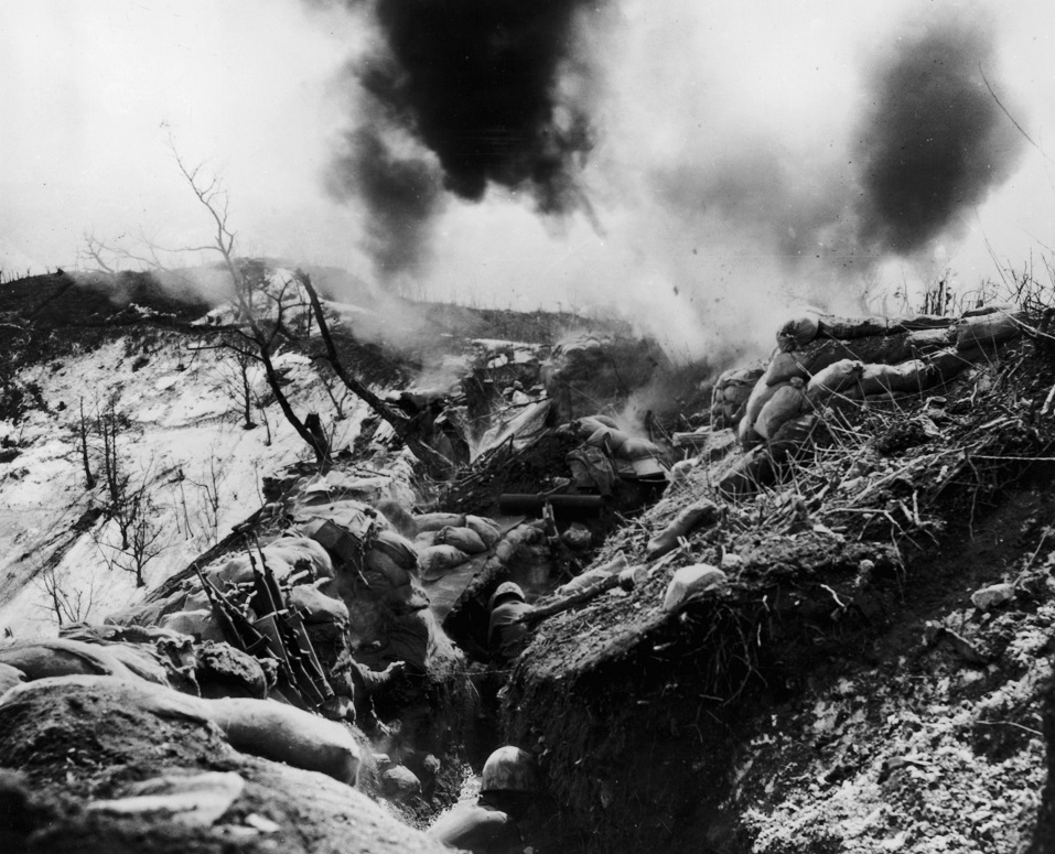 US Marines in a trench in Korea