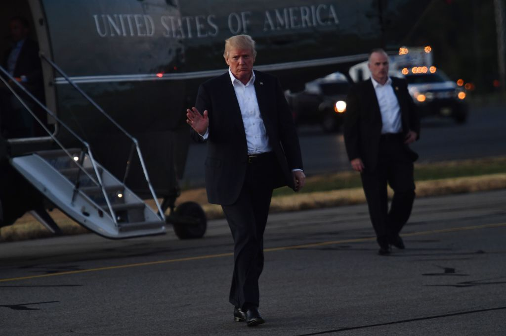 Trump Exiting Helicopter for President's Cup