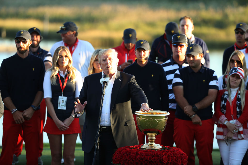 The Presidents Cup Donald Trump giving trophy