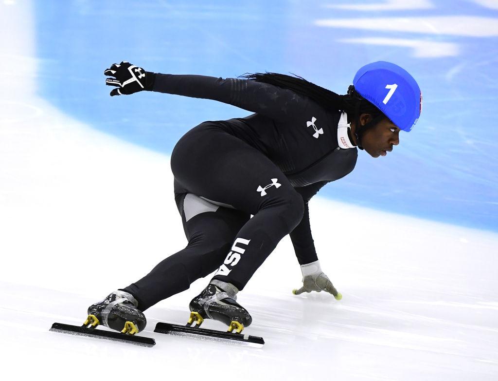 Maame Biney #1 corners in the Women's 500 Meter A Final
