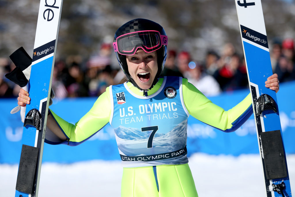 Sarah Hendrickson celebrates after winning the U.S. Womens Ski Jumping Olympic Trials