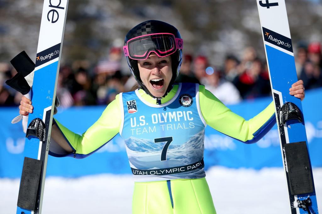 Sarah Hendrickson celebrates after winning the U.S. Womens Ski Jumping Olympic Trials
