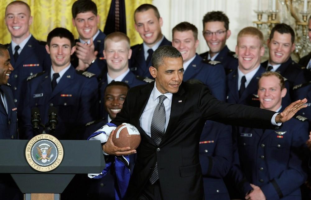 U.S. President Barack Obama strikes a pose