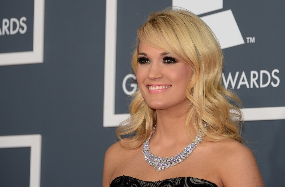 Singer Carrie Underwood arrives at the Staples Center for the 55th Grammy Awards