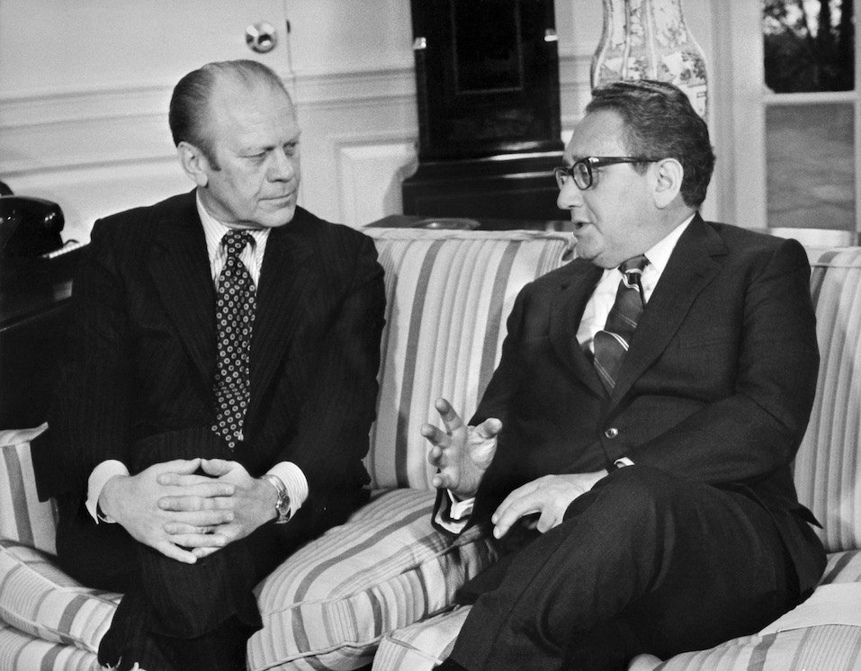 US Gerald R. Ford meeting with former Secretary of State Henry Kissinger at the White House Oval Office