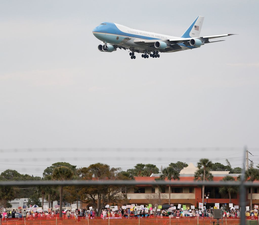 Air Force One with US President Donald Trump on board
