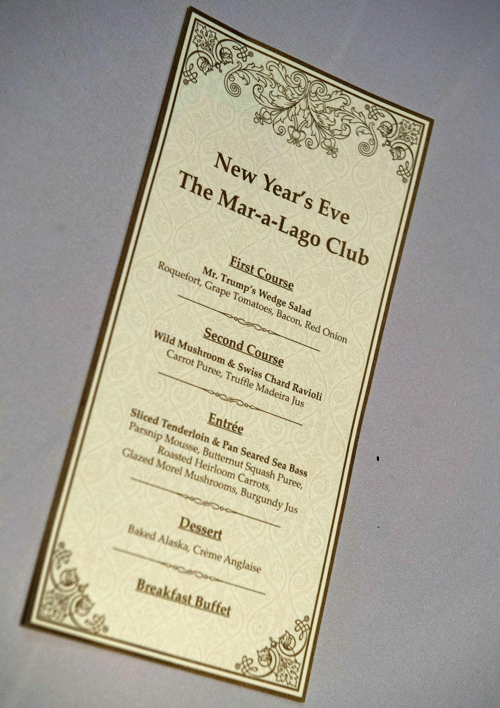 The menu for US President-elect Donald Trumo's New Year's Eve party at the Mar-a-Lago Club