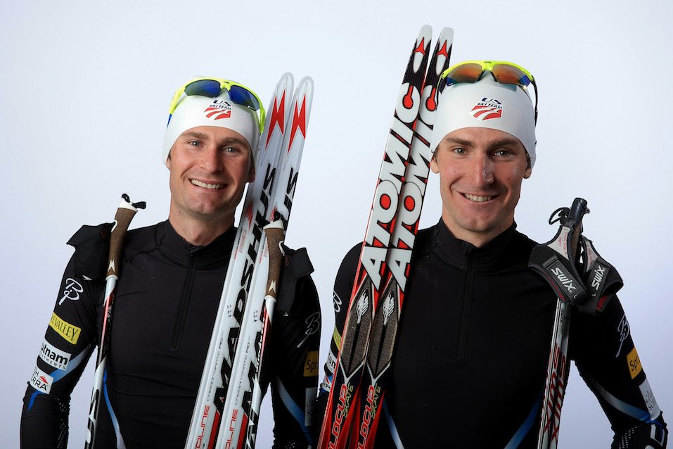Nordic combined athletes Bryan Fletcher and Taylor Fletcher pose for a portrait during the USOC Media Summit
