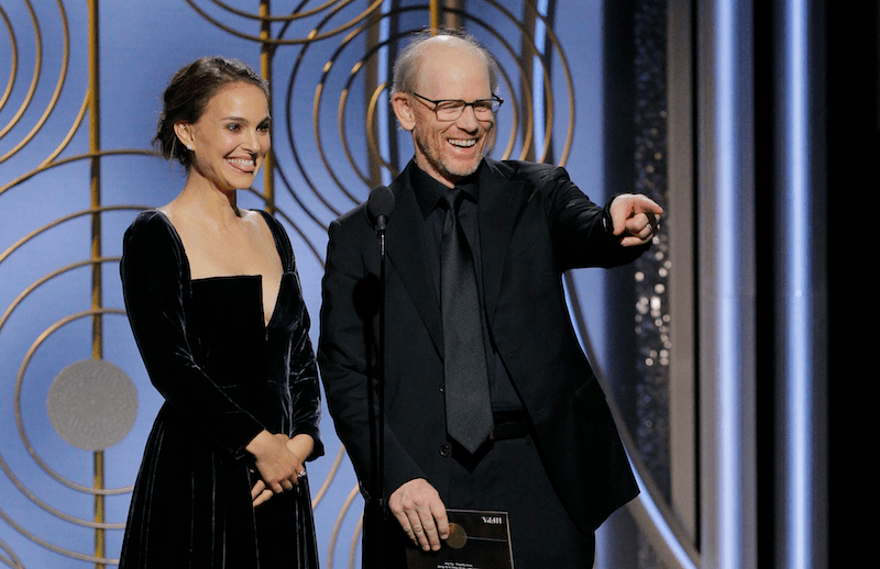 Natalie Portman presents an award at the Golden Globes