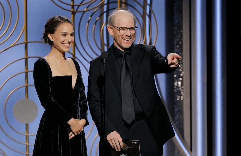 Natalie Portman presents an award at the Golden Globes