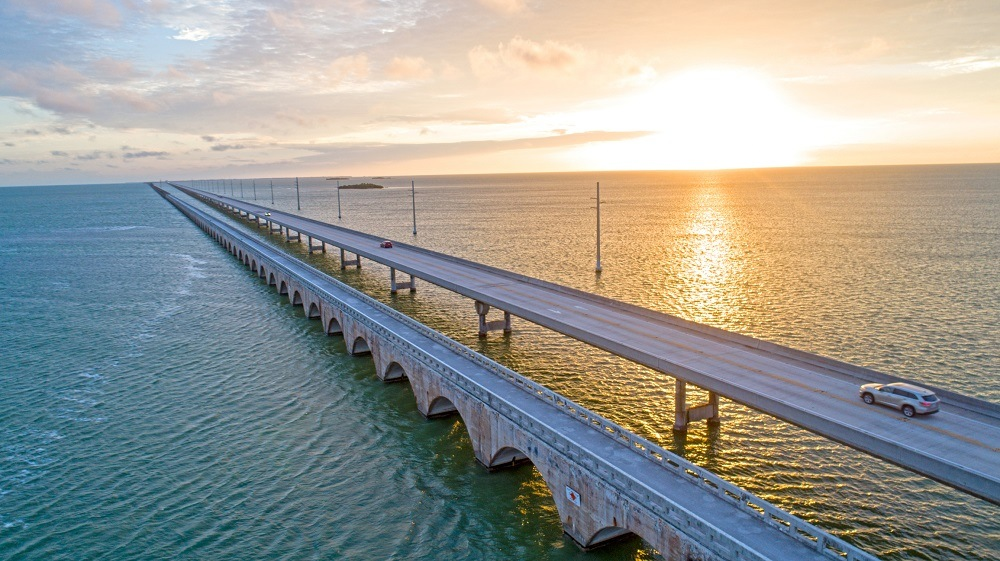 Highway Seven Mile Bridge Traffic at Sunrise