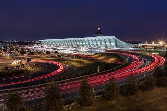 The Washington Dulles International Airport seen on a bright night.