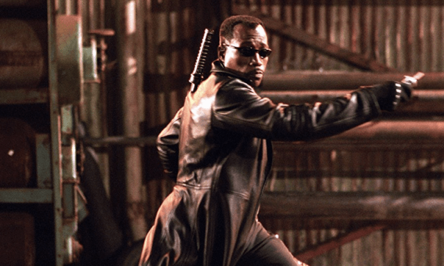 Wesley Snipes wearing a leather jacket and carrying a weapon on 'Blade: Trinity'.