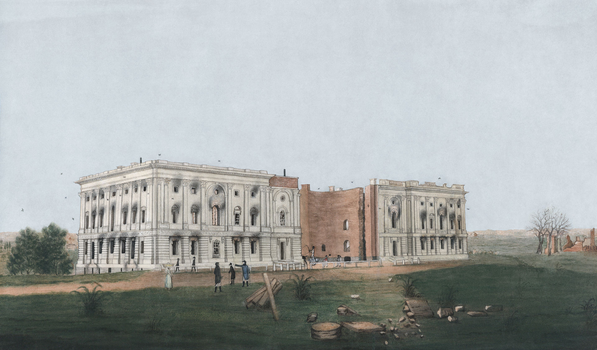 White House ruins during the war of 1812