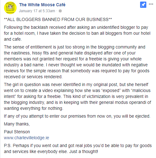 White Moose Cafe Blogger ban
