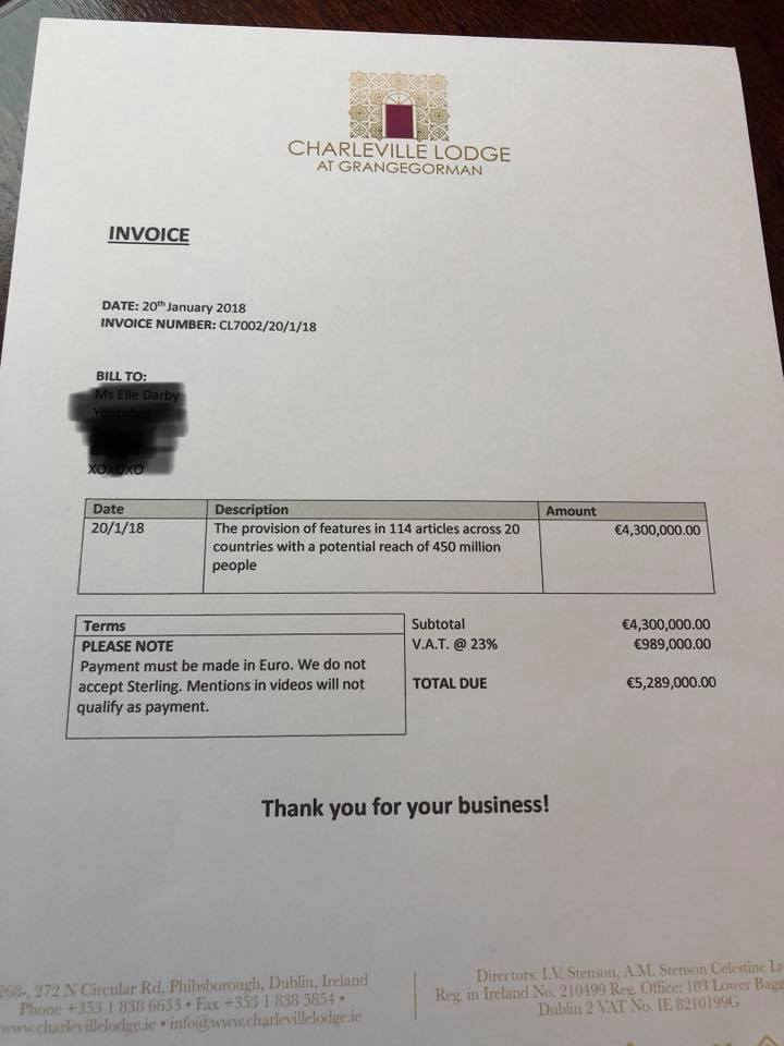 White Moose Cafe Blogger invoice