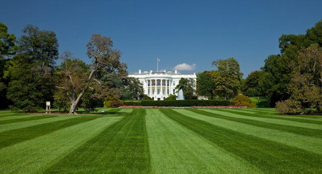 White House in Washington D C From front lawn view.