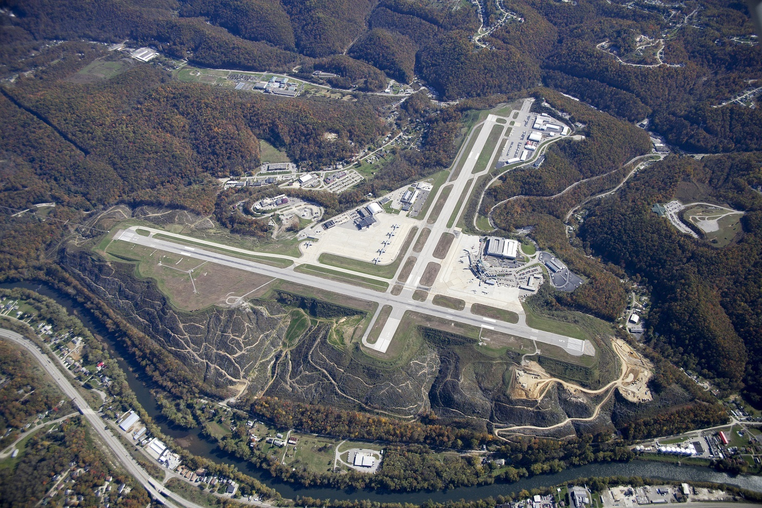 Aerial view of Yeager Airport, Charleston, West Virginia