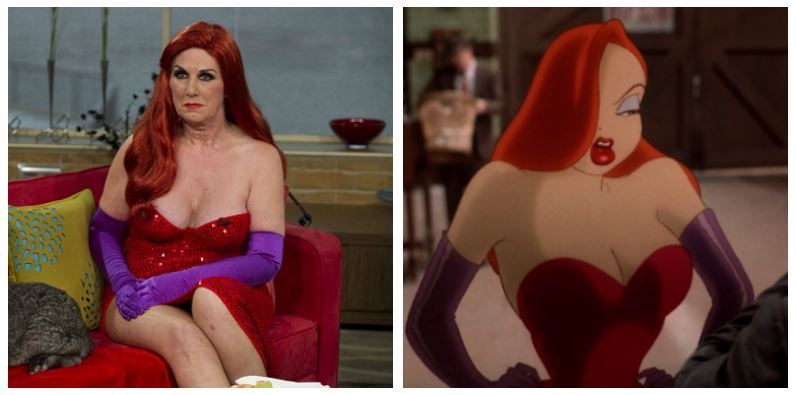 A composite image of Annette Edwards and Jessica Rabbit