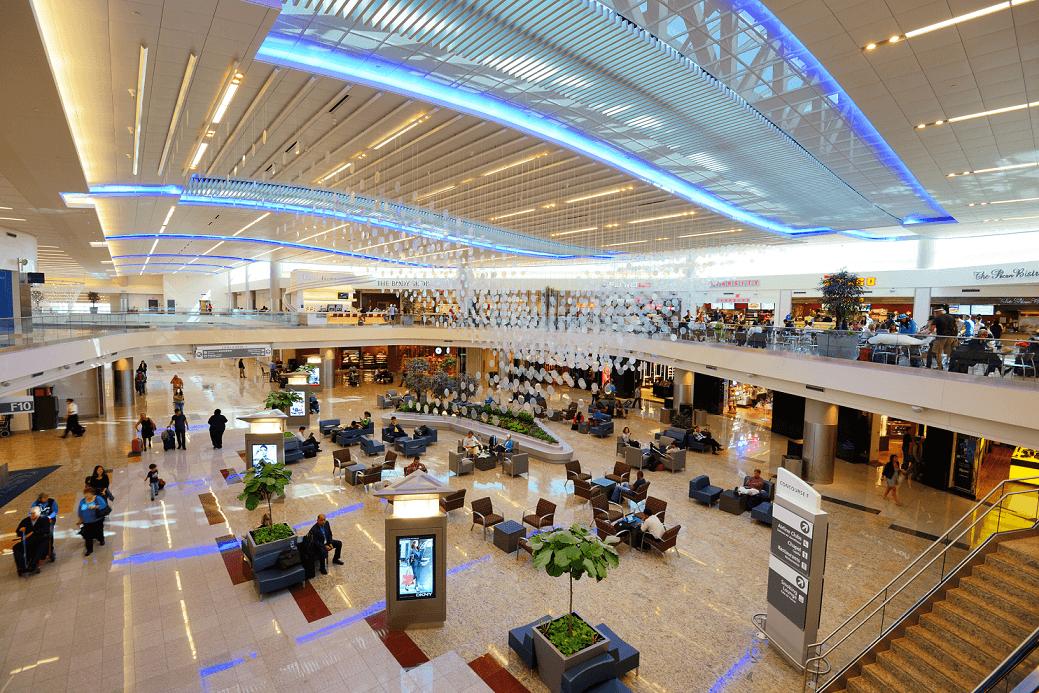 Travelers in the International Terminal of Hartsfield–Jackson Atlanta International Airport.