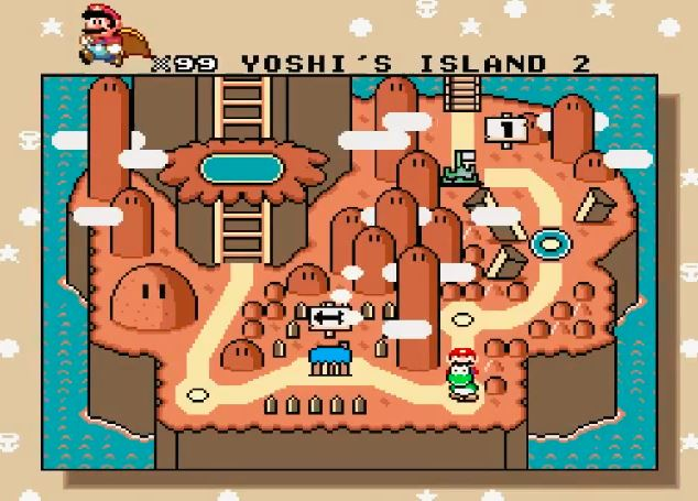 Autumn changes the colors in Super Mario World.