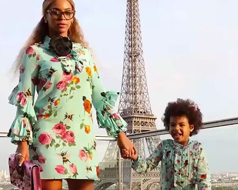 Beyonce and Blue wear matching floral outfits