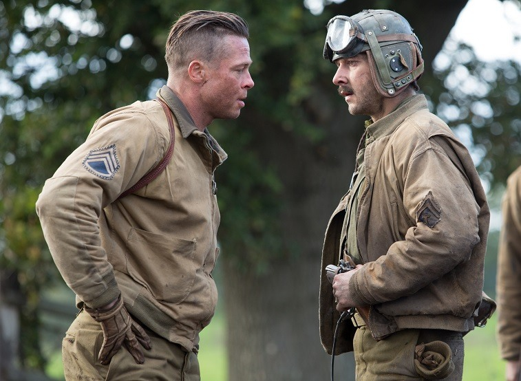 Brad Pitt and Shia LaBeouf in Fury