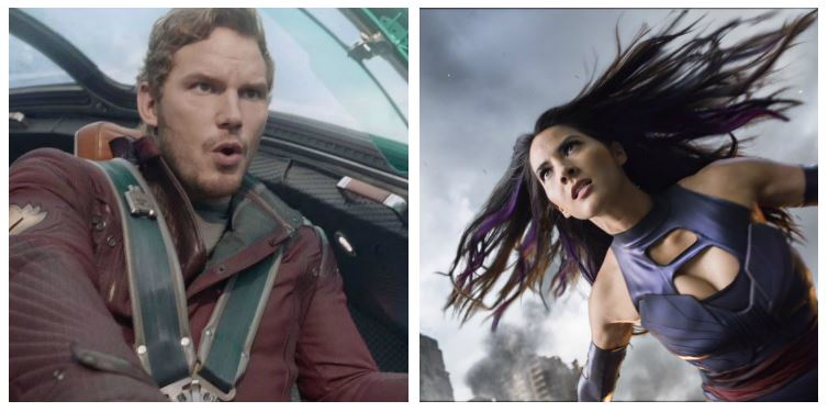Chris Pratt as Star-Lord and Olivia Munn as Psylocke