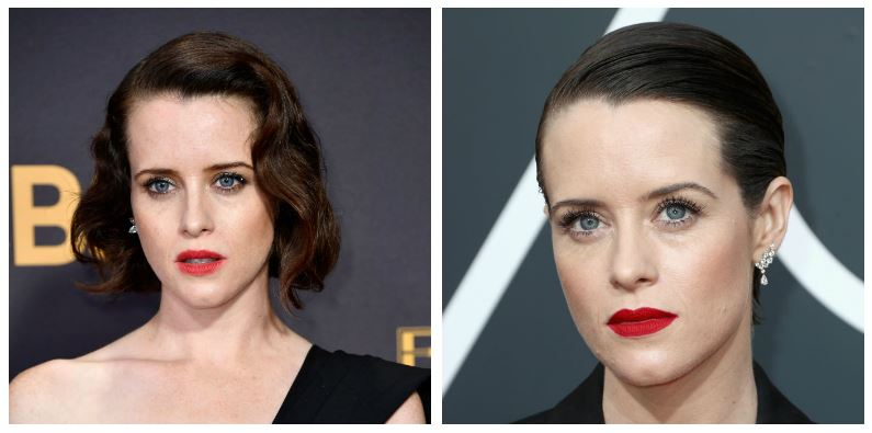 A composite image of Claire Foy showing drastic hair changes