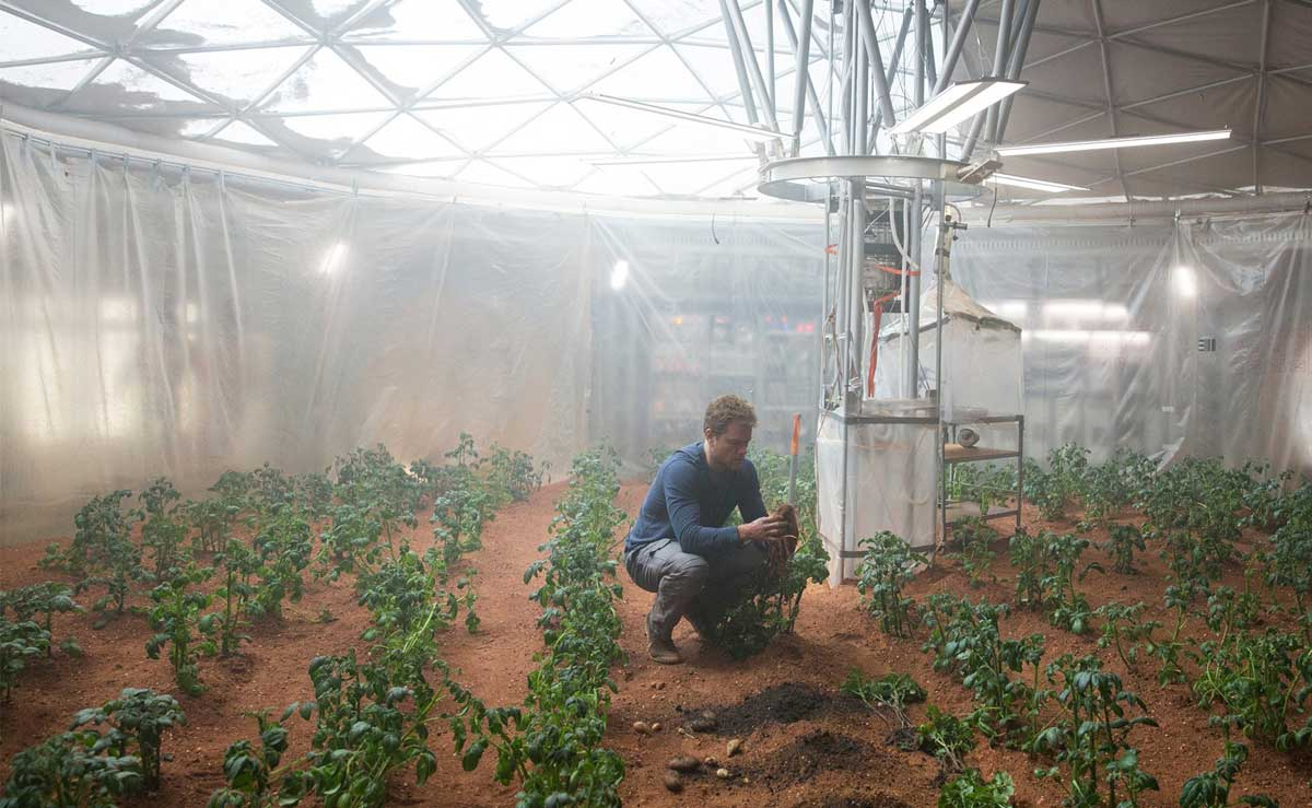 Matt Damon grows his poop potatoes in The Martian
