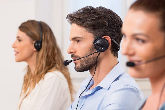 Man working in call center or customer service
