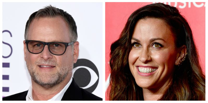 A composite image of actor Dave Coulier and singer Alanis Morissette