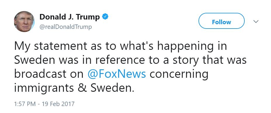 Donald Trump tweet about Sweden