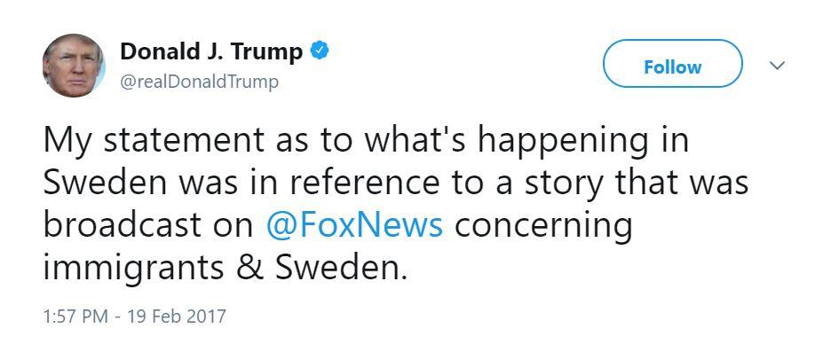 Donald Trump tweet about Sweden