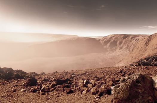 A dust storm as it would look on Mars