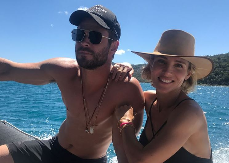 Chris Hemsworth and Elsa Pataky on a boat