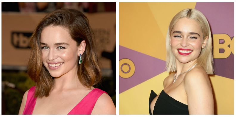 A composite image of Emilia Clarke showing drastic hair changes
