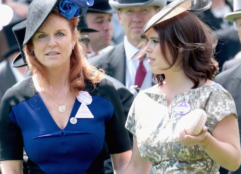 Princess Eugenie and Sarah Ferguson hold hands in the parade ring on day 4 of Royal Ascot at Ascot Racecourse on June 19, 2015 in Ascot, England. (Photo by Chris Jackson/Getty Images)