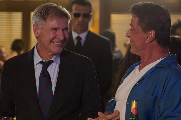 Harrison Ford and Sylvester Stallone in The Expendables 3
