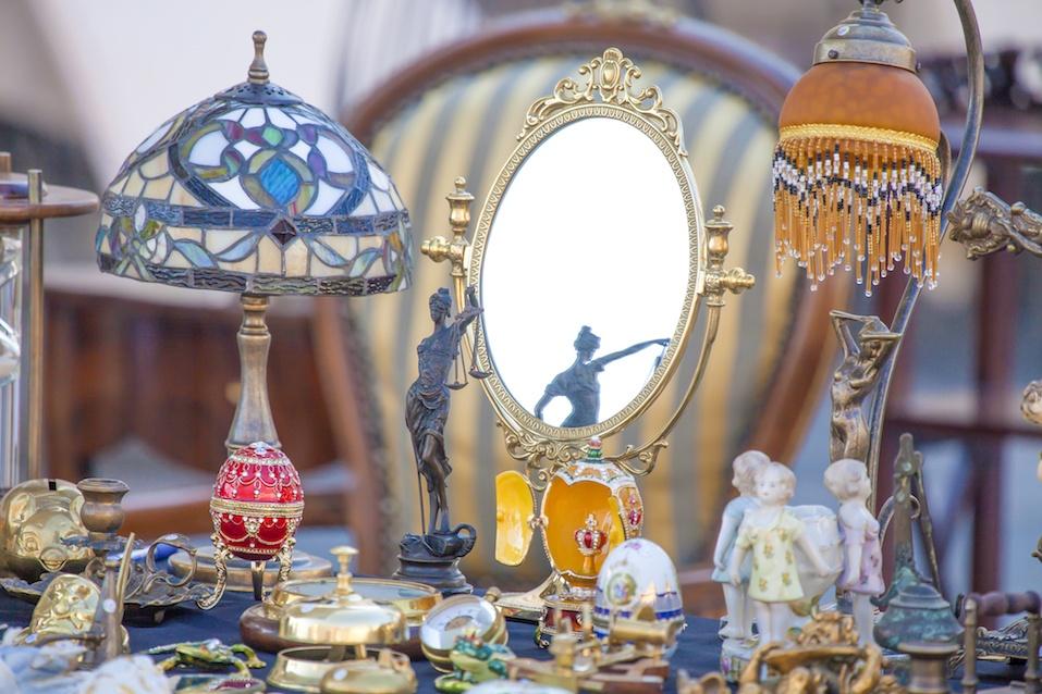 Flea market detail of objets on sale