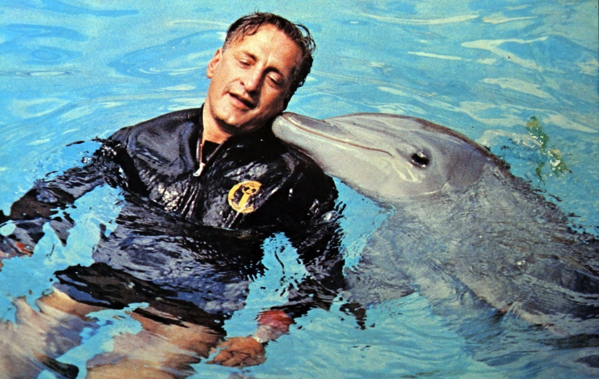A man next to a dolphin in water