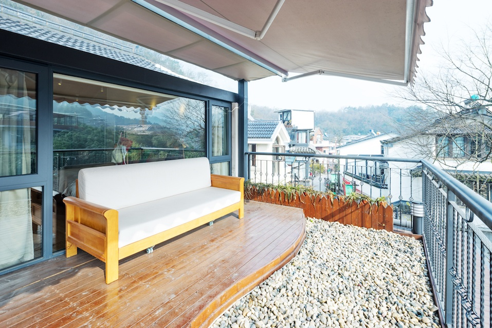 Decoration and furniture in modern balcony