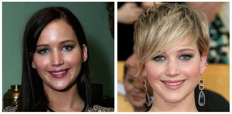 A composite image of Jennifer Lawrence showing drastic hair changes