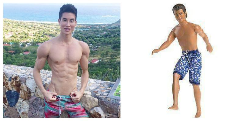 A composite image of Justin Jedlica and a Ken doll