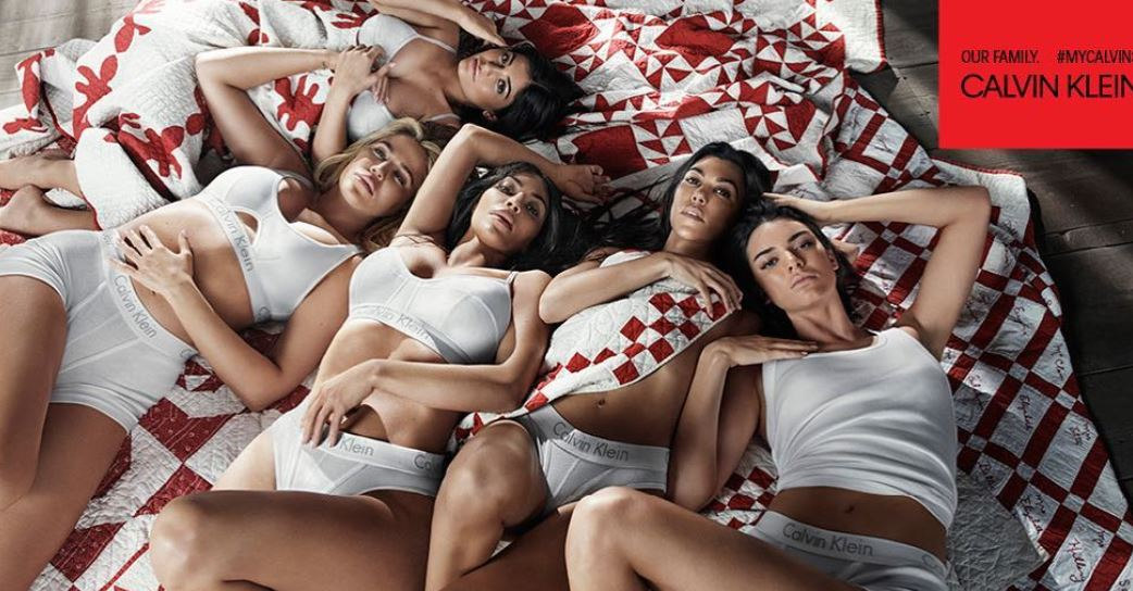 (Left to right) Kylie Jenner, Khloe Kardashian, Kim Kardashian West, Kourtney Jenner, and Kendall Jenner in Calvin Klein ad