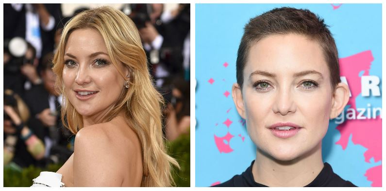 A composite image of Kate Hudson showing drastic hair changes
